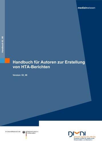 Handbuch für Autoren zur Erstellung von HTA-Berichten - DIMDI