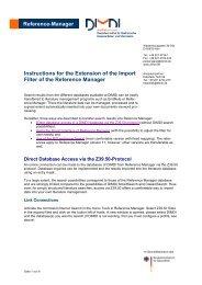Reference-Manager zum Vertrag - DIMDI