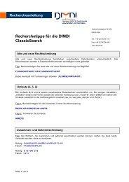 Recherchetipps für die DIMDI ClassicSearch