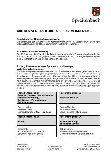 aus den verhandlungen des gemeinderates - Gemeinde Spreitenbach