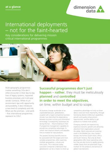 International deployments – not for the faint-hearted - Dimension Data