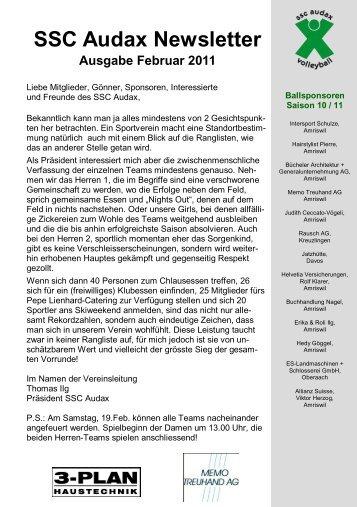 SSC Audax Newsletter Ausgabe Februar 2011