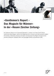 «Gentlemen's Report – Das Magazin für Männer» in ... - NZZ Werbung