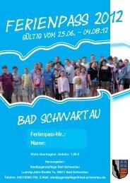 Ferienpass 2012 Umschlag - Bad Schwartau