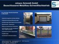 Johann Schmidt GmbH Bauschlosserei-Metallbau-Schweißfachbetrieb