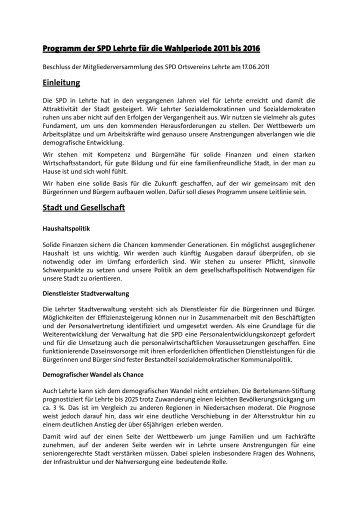Wahlprogramm 2011-2016 - SPD-Stadtverband Lehrte