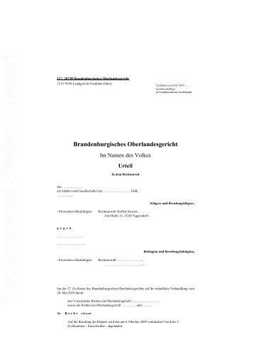 Urteil - Rechtsanwalt Steffen Siewert