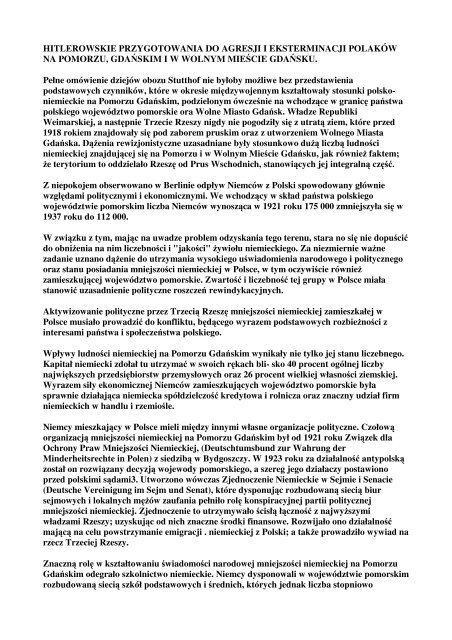 Hitlerowskie Przygotowania Do Agresji I Eksterminacji Polaków Na