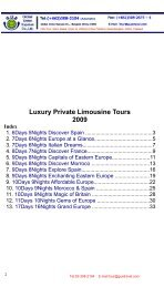 Luxury Private Limousine Tours 2009 Index - Guetravel