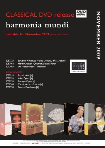 bbc music magazine dvd choice - Harmonia Mundi UK Distribution