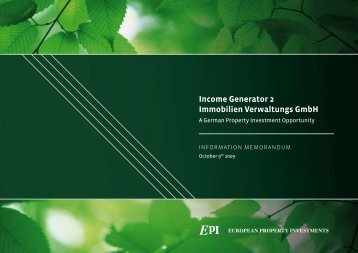 Income Generator 2 Immobilien Verwaltungs GmbH - European ...