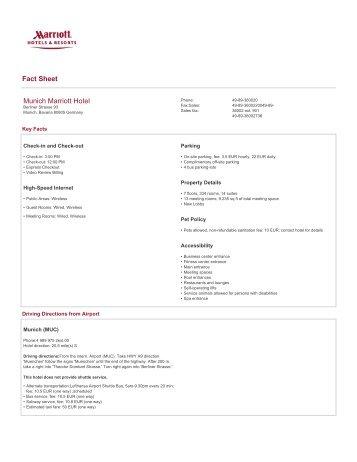 Munich Marriott Hotel - Fact Sheet - ELGI