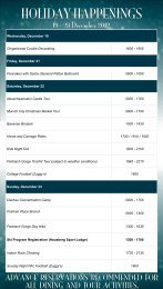 a complete schedule of holiday - Edelweiss Lodge and Resort