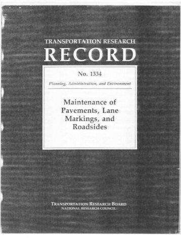 Maintenance of Pavements, Lane Markings, and Roadsides