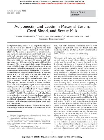 Adiponectin and Leptin in Maternal Serum, Cord ... - Clinical Chemistry