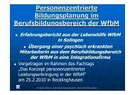 Personenzentrierte Bildungsplanung in WfbM