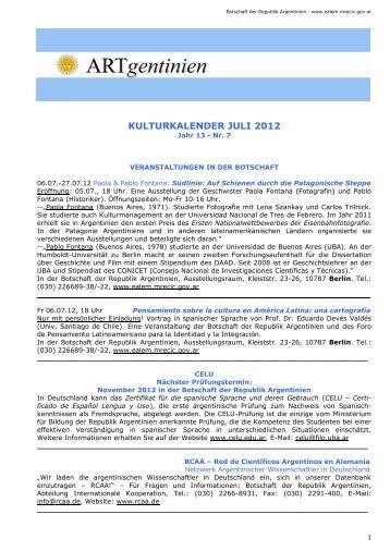 Kulturkalender Juli 2012 - Embajada de la República Argentina en ...