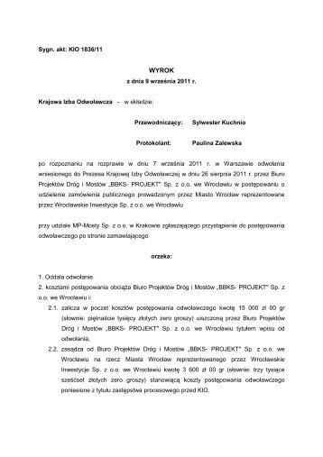 Pobierz na dysk orzeczenie w formacie PDF - Nowe Przetargi