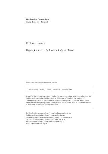 Richard Prouty Buying Generic: The Generic City in Dubai