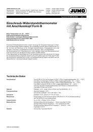 Einschraub-Widerstandsthermometer mit Anschlusskopf ... - Jumo