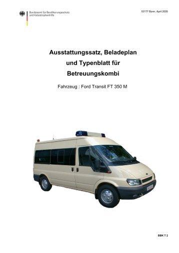 Ausstattungssatz, Beladeplan und Typenblatt für Betreuungskombi