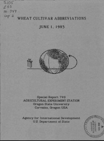 cl)(9 WHEAT CULTIVAR ABBREVIATIONS JUNE 1, 1985