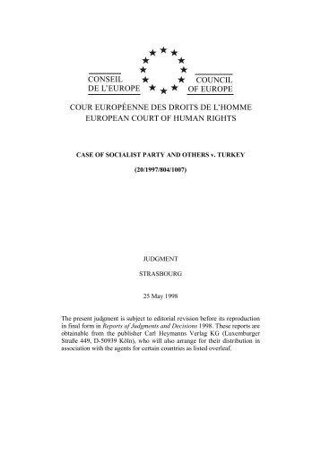 conseil de l'europe council of europe cour européenne des droits de ...