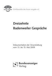 Dreizehnte Badenweiler Gespräche - Forum Vergabe