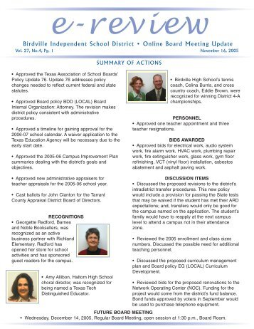 Birdville Independent School District • Online Board Meeting Update