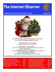 The Internet Observer - The American Legion Department of Colorado