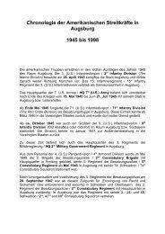 Chronologie der Amerikanischen Streitkräfte in Augsburg 1945 bis
