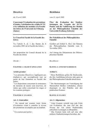 Richtlinien vom 23. April 2009 über die Evaluation - Gestens ...
