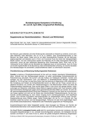 Supplemente zur Gewichtsreduktion - Wunsch und ... - AQED