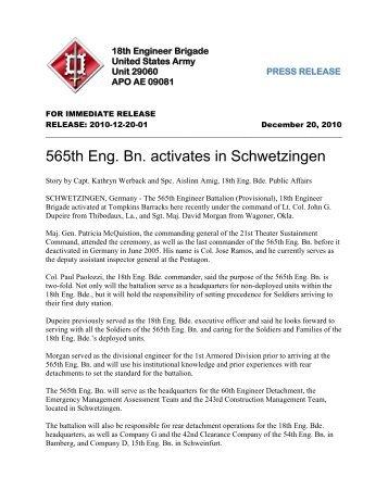 565th Eng. Bn. activates in Schwetzingen - US Army in Europe