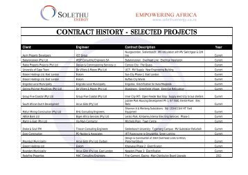 CONTRACT HISTORY - SELECTED PROJECTS - Solethu Energy