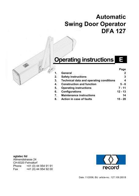 Record DFA 127 Processor Control Board V2.60 Latest Version Safety Monitoring