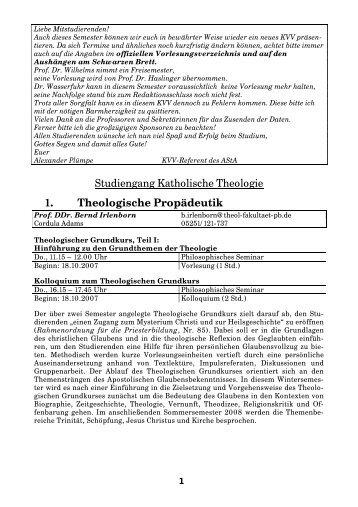 Kommentiertes Vorlesungsverzeichnis WS 2007-08 - Theologische ...