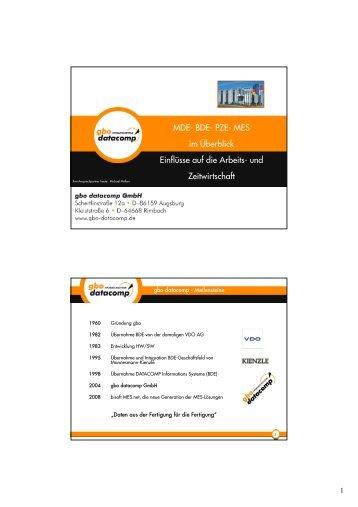 MDE- BDE- PZE- MES im Überblick Einflüsse auf die Arbeits- und ...