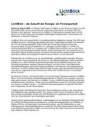 LichtBlick – die Zukunft der Energie: ein Firmenportrait