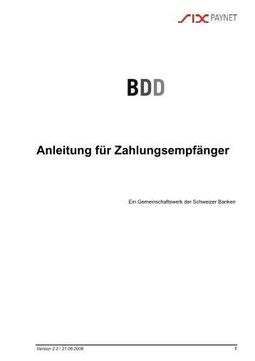 2 Beschreibung der Dienstleistung BDD - SIX Interbank Clearing