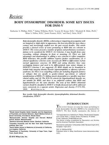 Body dysmorphic disorder: some key issues for DSMV - DSM-5