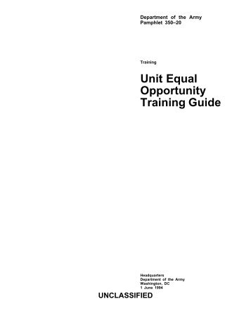 Unit Equal Opportunity Training Guide - Deputy Chief of Staff ARMY ...