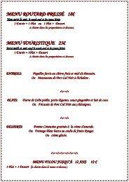 Cliquez pour voir les menus - hotel restaurant manoir henri IV
