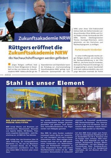Stahl ist unser Element Rüttgers eröffnet die Zukunftsakademie NRW