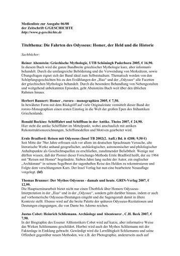 Medienliste G 06/08 - G/Geschichte