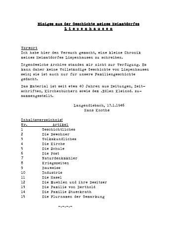 Heimatchronik von Lispenhausen