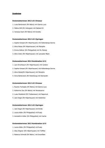 Ergebnisse Kreismeisterinnen 2012 LK 6 Dressur 1. Luisa Barborseck