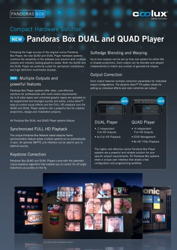 Pandoras Box DUAL and QUAD Player NEW - Coolux