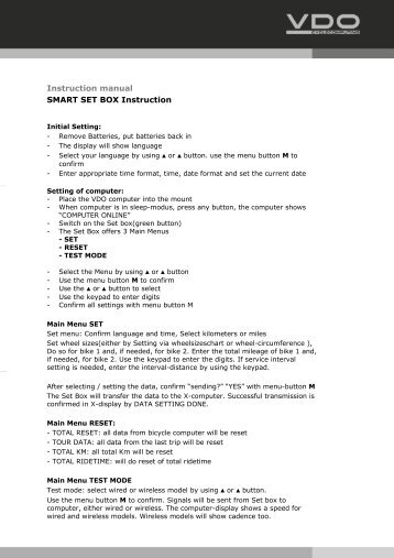 Instruction manual SMART SET BOX Instruction - VDO