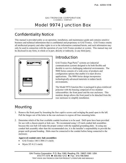 Model 9974 Junction Box - GAI-Tronics